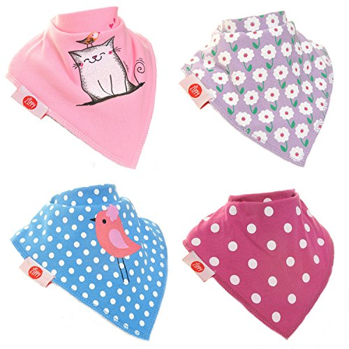 Zippy Fun Baby and Toddler Bandana Bib - Absorbent 100% Cotton Front Drool Bibs with Adjustable Snaps (4 Pack Gift Set) Girls Cat and Bird