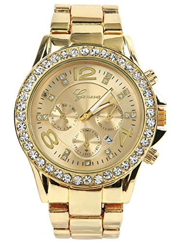 Brothers-usa-Geneva-Luxury-Alloy-Diamond-Watch-with-Calendar-Gold