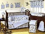 Sweet Jojo Designs Khaki and Blue Camo Camouflage Military Baby Boy Bedding 9pc Crib Set
