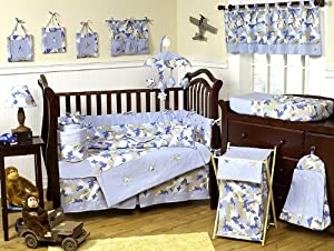 Khaki and Blue Camo Camouflage Military Baby Boy Bedding 9pc Crib Set