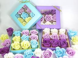 Purple Rose bath bombs, includes two boxes Colorful Charming Rose Flower, lovely gift for birthday.