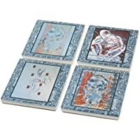 Fine Art Designed Ceramic Coaster Set Of 4