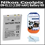 Battery Kit For Nikon Coolpix S9900, AW130, AW110 S800c S9300 S6300 S6200 S8200 AW100 S1200pj S8100 S8000 S6000 S6100 S9100 S1000pj S1100pj P300 P310 P330 S9500 Digital Camera Includes Extended Replacement For Nikon EN-EL12 (1200mAH) Lithium-Ion Battery