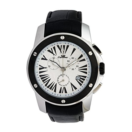 Ciemme Ciemme Luxury Men's Swiss Quartz Chronograph Movement Black Leather Strap Wristwatch