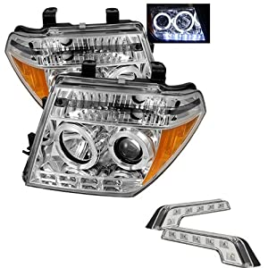 Carpart4u Nissan Frontier / Nissan Pathfinder Halo LED Chrome Projector Headlights and LED Day Time Running Light Package