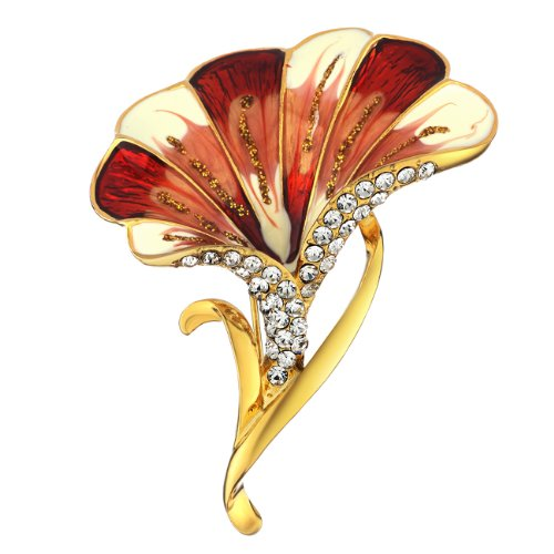 Neoglory Jewelry New Arrival 2012 Fashion Red Flowers Brooches 14k Gold Plated Wholesale Christmas Gift