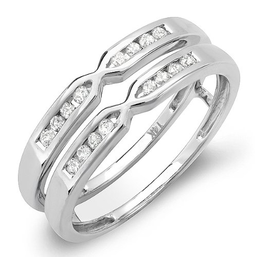 0.25 Carat (ctw) 14k White Gold Round Diamond Ladies Anniversary Wedding Band Enhancer Guard Double Ring 1/4 CT