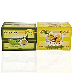 GTEE Green Tea Bags - Regular & Green Tea Bags - Lemon & Ginger (25 Tea bags X 2PACKS)