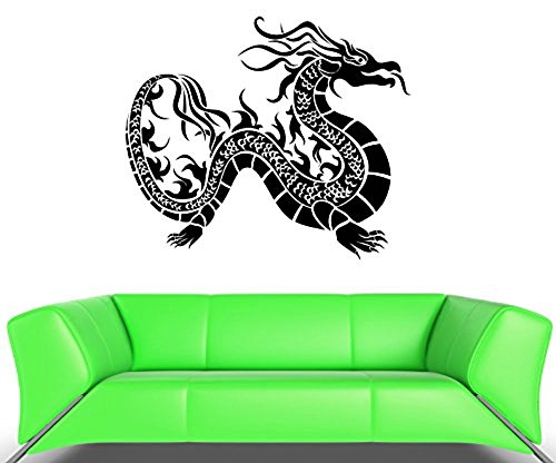 GGWW Wall Decal Dragon Fire Snake Scale Asia Mural Vinyl Stickers (Ed006)