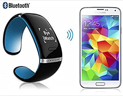 Oled Bluetooth V3.0 Smart Touch Bracelet Watch with Music Player, Call Answering & Pedometer Function for Android/apple Cellphones (Black & Blue)