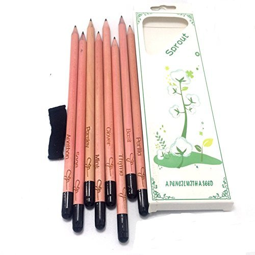 Littras Multi-functional Sprout Pencil ,Sprouting plant pencil Made of Cupressus for body. 8pack in box by Littras