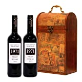 PERSONALISED 2 x Bottles 750ml Premium Fine Red Wine in Wooden Vintage Wine Chest Hamper ADD YOUR OWN MESSAGE & NAME TO THE WINE LABEL - Valentines Day, Mothers Fathers Day Gifts, Retirement Corporate Xmas Hampers, 18th 21st 30th 40th 50th 60th 70th 80th