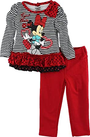 """Disney Minnie Mouse """"Get Your Glam On!"""" Red Toddler Girls Tunic Top & Leggings Set 2T-4T (2T)"""