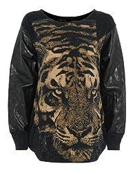 Womens Black Tiger Print Sweater