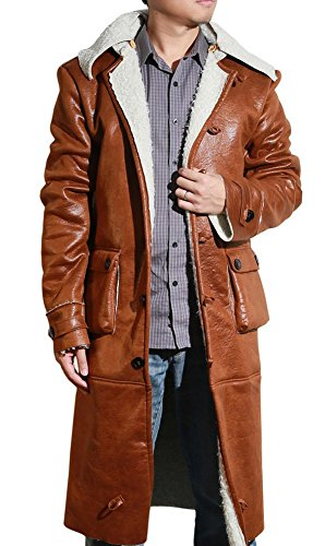Halloween Men's Classic Winter Leather Jacket Trench Coat for Adult
