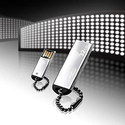 Silicon Power Touch 830 32GB USB 2.0 Flash Drive, Silver (SP032GBUF2830V1S)