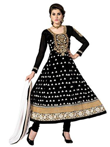 Riti Riwaz Black Faux georgette anarkali semi stitched salwar suits KAY29002
