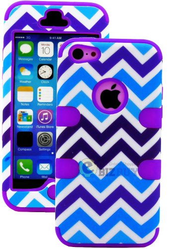 Mylife (Tm) Bright Purple + Blue And White Chevron 3 Layer (Hybrid Flex Gel) Grip Case For New Apple Iphone 5C Touch Phone (External 2 Piece Full Body Defender Armor Rubberized Shell + Internal Gel Fit Silicone Flex Protector + Lifetime Waranty + Sealed I