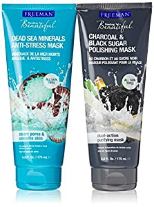 Freeman Mask Bundle: One Dead Sea Minerals Anti-Stress Mask (6 Oz.) and One Charcoal & Black Sugar Polishing Mask (6 Oz.) Purifying Mask-Clears Pores & Smooths skin