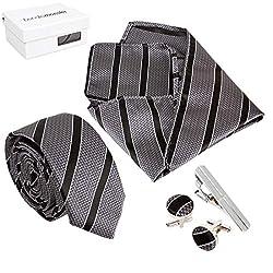 Bundle Monster Mens Fashion Accessory Combo Kit - Gray w/ Black Stripes