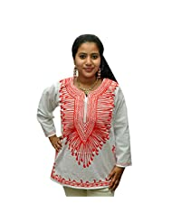 Odishabazaar Women's White Red Cotton Ari Embroidered Short Kurti