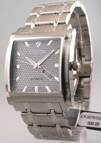 Mens Croton Steel Automatic Day Date Watch CR307812SSGY