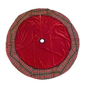 Trimmery Red Velvet Tartan Plaid Christmas