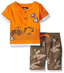Boys Rock Baby 2 Pc Short Set Tractor Henley, Orange, 24 Months