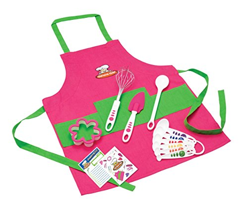 Curious Chef TCC50186 11-Piece Kids' Chef Kit, Pink/Green (Cooking Kids Set compare prices)