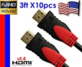51butVB8S3L. SL160 YarMonth 10packs Super High Resolution 1.4V HDMI 1M (3 Feet) For HDTV, Plasma, LCD, PS3, DVD Players, Satellite & Cable boxes