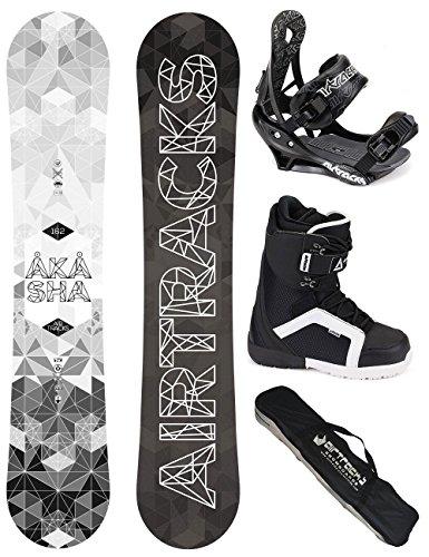 AIRTRACKS SNOWBOARD KOMPLETT SET / AKASHA SNOWBOARD WIDE ROCKER + BINDUNG SAVAGE + BOOTS + SB BAG / 152 157 159 162 / cm