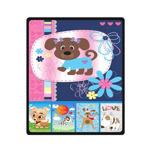 "Personalized Cute Dogs Jigsaw Blanket 50""X 60""(Medium) front-799456"