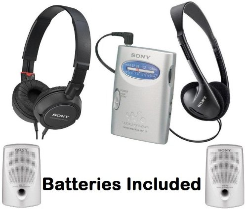 Sony Walkman Portable Lightweight AM/FM Stereo Radio with Belt Clip, Over the Head Stereo Headphones, Studio Monitor Swivel Headphones (Black) & Passive Lightweight Portable Speakers - Batteries Included
