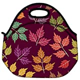 Snoogg A Seamless Pattern With Leaf Travel Outdoor Carry Lunch Bag Picnic Tote Box Container Zip Out Removable...