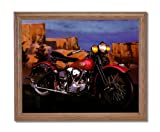 Knucklehead Harley Davidson Motorcycle Home Decor Wall Picture Oak Framed Art Print