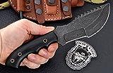 CFK Cutlery Company USA Custom Handmade RAINDROP DAMASCUS Steel Micarta Saw Back TRACKER Hunting Skinning Bushcraft Knife with Leather Sheath & Fire-Starter Rod Set CFK150