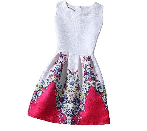 KYZ Girls Women Spring Summer New Flower Printing Fabric Sleeveless Vest Dress Tutu Skirt M