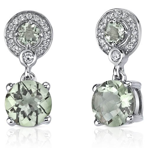 3 Carat Green Amethyst Earrings in Sterling Silver