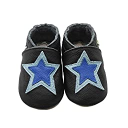 Sayoyo Baby Star Soft Sole Leather Infant Toddler Prewalker Shoes (12-18 months, Black)