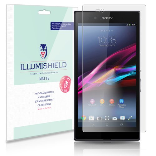 Illumishield - Sony Xperia Z Ultra Anti-Glare (Matte) Screen Protector Hd Clear Film / Anti-Bubble & Anti-Fingerprint / Premium Japanese High Definition Invisible Crystal Shield - Free Lifetime Warranty - [3-Pack] Retail Packaging