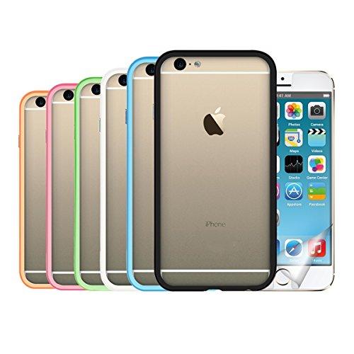 kwmobile 7in1:6x TPU silicone bumper firmato per Apple iPhone 6 / 6S di colore nero, bianco, blu, verde, fucsia, arancione + Pellicola, cristallino