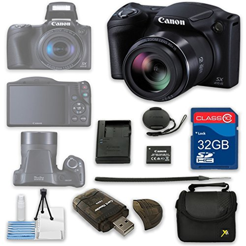 Canon PowerShot SX410 IS Digital Camera + 32GB High Speed SD Card + Camera Case + Card Reader + Cleaning Kit - International Version (Canon Sx60 Hs Camera Battery compare prices)