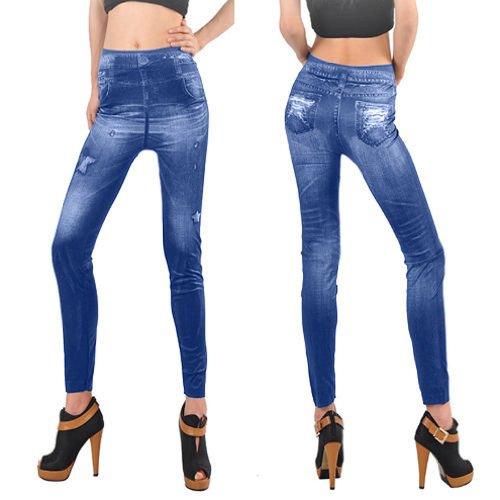Gleader Donne denim jeans sexy legging tights elastico Pantaloni - blu