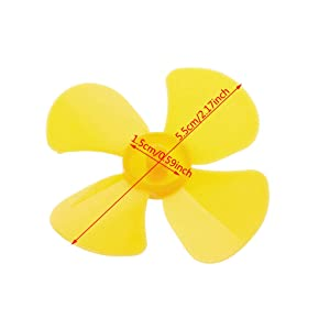 PoityA Four Blades Leaves Plastic Propeller for RC Model Motor Ship Boat Aircraft (Color: Yellow, Tamaño: 5.5cm/2.17)