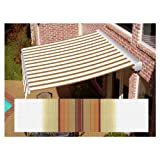Awntech 18-ft Wide x 10-ft 2-in Projection Tan/Terra Cotta Striped Slope Patio Retractable Remote Control Awning