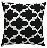JinStyles Cotton Canvas Quatrefoil Accent Decorative Throw Pillow Cover (Black, White, Square, 1 Cover for 16 x 16 Inserts)