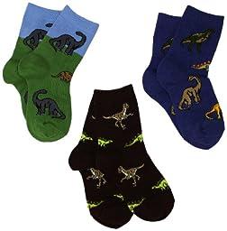 Jefferies Socks Little Boys\' 3-7 Dino Triple Treat Socks  (Pack of 3), Pine, Toddler