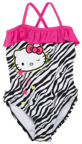 Hello Kitty Little Girls'  1 Piece Cross Back Swimsuit With Ruffle, Zebra Print, 6x
