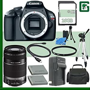 Canon EOS Rebel T3 Digital SLR Camera and Canon 55-250mm Lens + 16GB Green's Camera Package 1