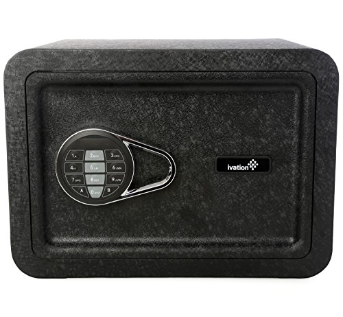 Ivation Electronic Home and Office Safe with Keypad for Pin Code Access - Includes Emergency Override Keys, Black